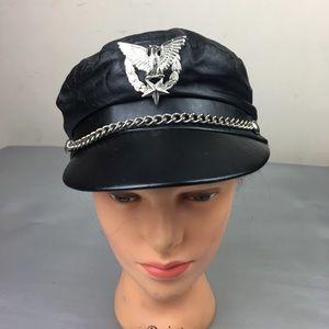 Vintage black genuine leather biker hat